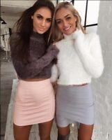 Women Short Fluffy Crop Turtleneck Pullover Knitted Sweater Jumper Knitwear Top