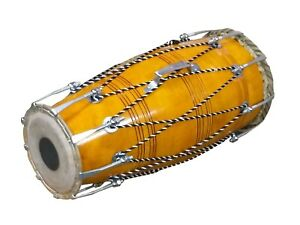 NAAL~INDIAN FOLK MUSICAL DRUM~MANGO WOOD~INDIAN HANDMADE~BHAJAN~KIRTAN~WITH BAG