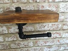 Toilet Roll Holder ,Pipe Fitting,industrial Steam Punk,retro ,rustic,wood Shelf