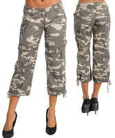 52P -S M L- Green Camo Army Fashion Capri Cargo Pants