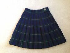 Girls Flynn & O'hara Green Knife Pleat Uniform Skirt Size 6 Euc