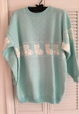 Fairy Kei Kawaii Mint Green Sweater White Kitty Cats Bows XL? '80's '90's