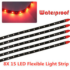 8x Red 15LED 30CM Waterproof Car Motor Truck Decor Flexible Light Strip Bar 12V