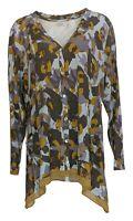 LOGO by Lori Goldstein Women's Top Sz XL Printed Button-Front Purple A309084