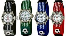Childrens Kids Ravel Hook & Loop Strapped Football Themed Analogue Watch