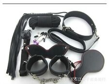 Adults 7 Rope Ball Gag Hand Ankle Neck Cuffs Whip Mask Bondage Adult Kit Toy 8Pc