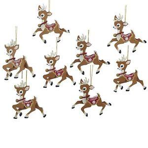 Kurt Adler Santa's Reindeer Cute Christmas Ornaments Vintage Style Retro Decor
