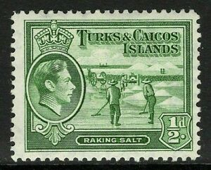 TURKS AND CAICOS 1944 SG195a. ½d. DEEP GREEN DEFINITIVE -  MNH