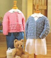 """Baby Cardigans Eyelet Textured Pattern 16"""" - 26"""" DK  Knitting Pattern"""