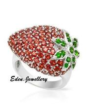 $440 FPJ Gorgeous Strawberry Ring 5.10ct GENUINE Garnet Diopside Sterling Silver