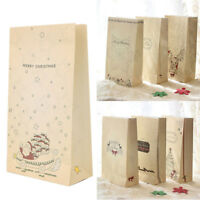 8 Pcs Kraft Paper Christmas Gift Bags Xmas Party Cookies Present Wedding Bag