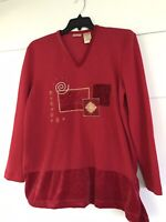 Bobbie Brooks Women's Size XL Holiday Xmas Knit Sweater Tops Shirt Blouse Red