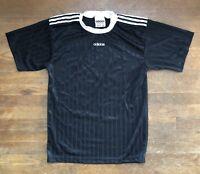 Vintage Adidas Mens Black White Striped Short Sleeve Soccer Polo Shirt - Size S