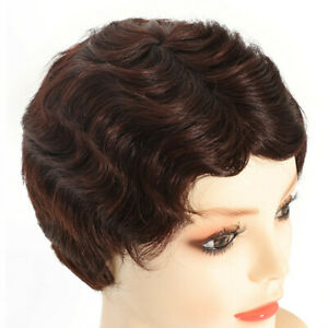 Women Human Hair Wig Short Finger Retro Body Wave Party Wig Part Sexy Ladies Wig