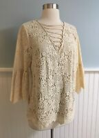 Size Small S Entro Women's Beige Lace Up Corset Bell Sleeve Shirt Top Blouse NEW