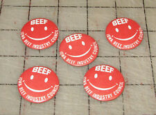"5 Vintage BEEF Smiley Face Iowa Beef Industry Council 1 & 1/4"" Pinbacks Buttons"