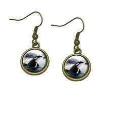 Orca Killer Whale Dangle Dangling Drop Earrings