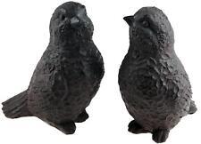 Set Of 2 Iron Effect Garden Song Bird Ornaments / 14 cm Figurines