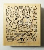 Stampin' Up! Packed for Mom Rubber Stamp Mother's Day Purse Heels Pearls Coffee