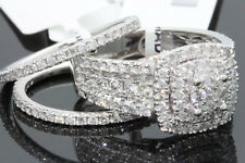 10K WHITE ROSE GOLD 2.08 CT WOMEN REAL DIAMOND ENGAGEMENT RING WEDDING BANDS SET