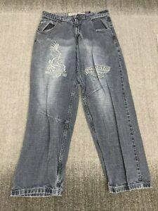 Paco Jeans Vintage Baggy Wide Leg Jeans HIP HOP Skate Grunge 35x30 Embroidered