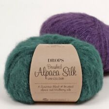 DROPS BRUSHED ALPACA SILK 77% BABY ALPACA 23%SILK Fluffy Knitting Yarn 25g
