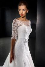Organza Boat Neck Half Sleeve Wedding Dresses