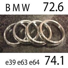 4 BMW SPIGOT RINGS 72.6 - 74.1 ALUMINIUM E34 E46 E60 E90 REPLICA CSL M3 X6 X5