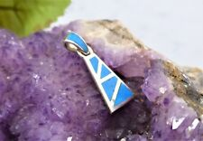 STERLING SILVER (925) PENDANT-TURQUOISE ENAMEL (20mmx10mm) 1.7gr.