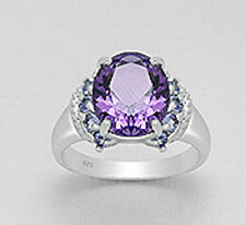 6.8g Solid Sterling Silver Amethyst and Tanzanite Solitaire Ring 11mm BEAUTY sz9