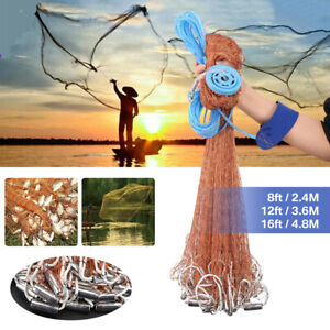 8ft-16ft Saltwater Fishing Cast Net Fishing For Bait Trap Height Easy Throw Sink