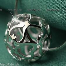 925 Sterling Silver Hollow Infinity Heart Love Ball Necklace Best Friend Message