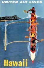 "Vintage United Airlines ""Hawaii"" Travel Poster 1950's"