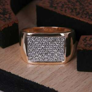 Men's 14K Rose Gold Lab Grown Diamond Cluster Wedding Ring GGL Certified Jewelry