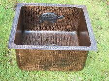 Copper Dark Patina Finish Rectangle  Bar Copper Sink 16x15x8 Tortoise  design