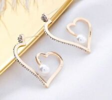 Exaggerate Irregular Hollow Heart Earrings Jewelry Bling Rhinestone Dangle