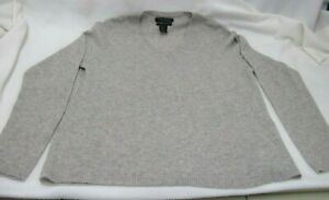 TAHARI PURE LUXE CASHMERE SWEATER V NECK LIGHT GRAY HEATHER LONG SLEEVE SIZE XL