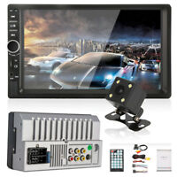 "7"" Car Radio Double DIN Blueteeth Stereo Player Touchscreen FM Backup Camera Kit"