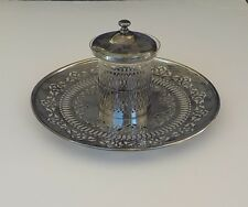 Van Bergh Mustard Jelly Jar Nickel Silver Serving Plate Etched Glass Silver Lid