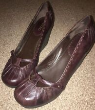 Aldo Brown Leather Mary Jane Wedge Shoes Size 7