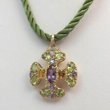 14K Gold Amethyst Citrine Peridot Tanzanite Maltese Cross Pendant Cord Necklace