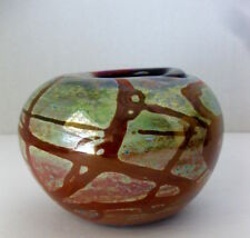 1972 LEE HUDIN STUDIO ART GLASS IRIDESCENT CABINET VASE Mid Century Modern era