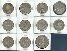 Malaysia 1, 5 Ringgit Commemorative Coins 9 Species / 11Pcs Lot, 1969-1990, UNC