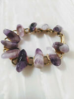 Vintage Chunky Bracelet gold colour with genuine Amethyst stone 1980s