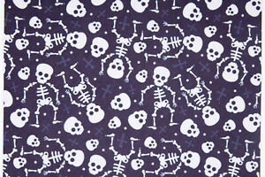 Halloween SKeletons Fine Glitter Printed Leatherette Fabric A4 Sheets