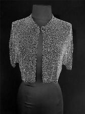 Very Rare Vintage French 1920'S-1930'S Black Beaded Shoulder Jacket Size S-M