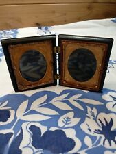 Antique Folding Hinge Picture Frame Gilded Copper Tintype Couple Victorian Photo