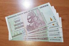 Zimbabwe 5 PIECES 50 Trillion Dollars 2008 Seria AA UNC