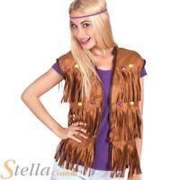 Ladies Brown Hippie Fringed Cowboy Vest Hippy 60s Fancy Dress Costume