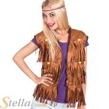 mujer marrón HIPPY CON FLECOS vaquero camiseta hippy AÑOS 60 Disfraz